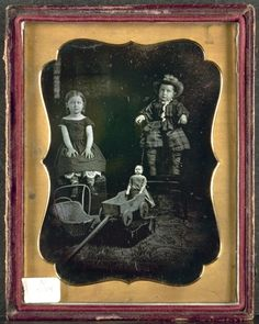 ca. 1855, [daguerreotype portrait of two children with toys] Cleveland Museum of Art, Photography Collection