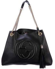 ce5327b645e Gucci Soho Medium Black Double Leather Chain Shoulder Bag Tote Black ...