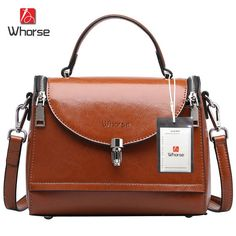 (49.95$)  Buy here - http://ail1z.worlditems.win/all/product.php?id=32792543275 - [WHORSE] Brand Logo New Arrival Women Handbag Genuine Leather Fashion Shoulder Messenger Bags Small Casual Cross Body Bag Retro