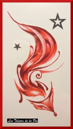 TATOUAGES TEMPORAIRES TATOO (x3) - Body art - Renard & étoiles - Rouge & noir