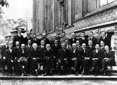 Albert Einstein, Marie Curie, Neils Bohr, Paul Dirac, Max Planck, Erwin Schrödinger, Wolfgang Pauli, Werner Heisenberg, Arthur Compton, and Hendrik Lorentz