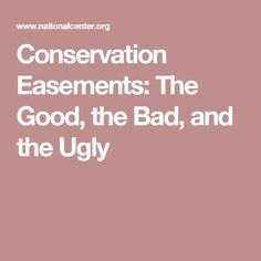 Conservation Easements: The Good, the Bad, and the Ugly
