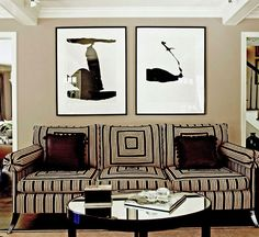 Chocolate and cream create a graphic living room in Hannah Storm's home - Traditional Home®