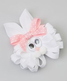 Another great find on #zulily! White & Light Pink Polka Dot Bunny Clip by Picture Perfect Hair Bows #zulilyfinds