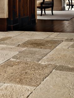 DALLE DE BOURGOGNE | These French limestone pavers, reclaimed from historic manors and farmhouses in Burgundy, date as far back as the 13th century. Generations of wear have resulted in pleasingly uneven surfaces. This unique, lived-in patina makes it the crème de la crème of natural stone. See it in our new 2018 lookbook! francoisandco.com/lookbook