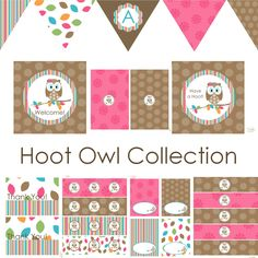 Hoot Owl Decorations for Birthday Party or Baby Shower - Girls DIY Printable Decor by BeeAndDaisy. $12.00, via Etsy.