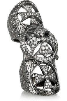 LOREE RODKIN  Maltese Cross 18-karat rhodium white gold diamond armor ring