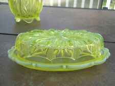 *FENTON ART GLASS ~ Cactus Topaz, covered butter dish, Vaseline Opalescent.