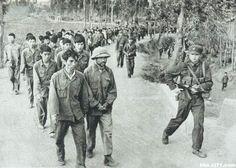 Coluna de prisioneiros vietnamitas, escoltados por tropas chinesas.
