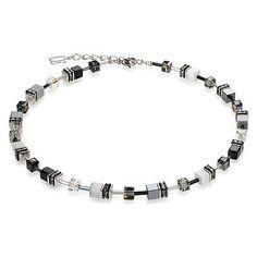 Signature Cube Necklace, Black & Hematite & White, Coeur De Lion Jewelry $222 Sale $178