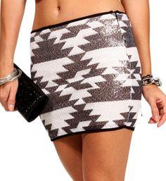Black/Ivory Sequin Tribal Skirt | Windsor