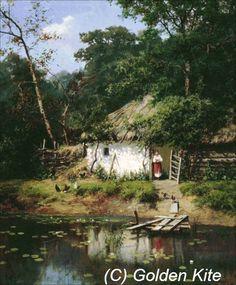 All Things Ukrainian - Art - 'Ukrainian House' Watercolor Landscape, Landscape Art, Watercolor Art, Ukraine, Famous Landscape Paintings, Cottage Art, Ukrainian Art, Russian Art, Beautiful Paintings