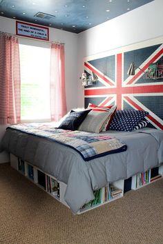 Boys room idea - peg headboard and bookshelves under neat the bed
