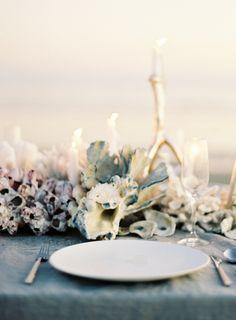 Poseidon's table scape - #tablescape    Oncewed Jose Villa Joy Thigpen Coral Centerpiece Beach Wedding Reception