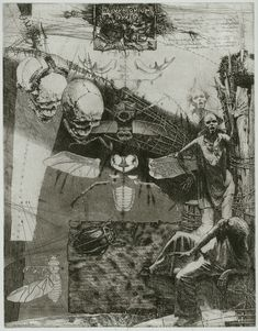 Alexander Steshenko: Psychodelic factory of objects. 1994, etching, aquatint, 'Laboratorium Dr.M' series, Plate 2, 19 by 25 cm.
