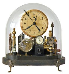 Clock in small glass oval dome