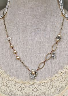 Evelyn. romantic vintage rhinestone pearl by tiedupmemories, $45.00