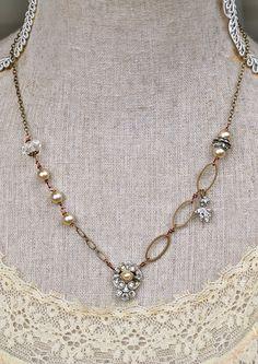 Evelyn. romantic vintage rhinestone pearl by tiedupmemories, $45.00