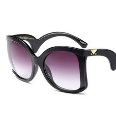 HBK Brand Luxury Oversized Sunglasses Women 2018 New Sexy Big Frame Black Ladies Unique Oculos Shades Italy