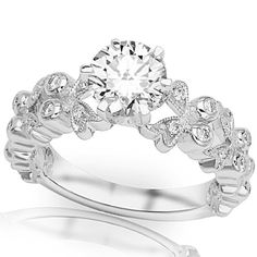 1.25 Carat IGI Certified 14K White Gold Butterfly Bezel And Pave Set Round Diamond Engagement Ring