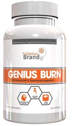 Genius Burn - 2-In-1 Focus Enhancing Thermogenic Fat Burner, Caffeine Free Nootropic Weight Loss Supplement, Natural Energy, Memory and Brain Boost with 9 Clinically Validated Ingredients, 60 V-Caps >> Unbelievable product is here! : Garcinia cambogia