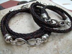 His and Hers Set of  Infinity Bracelets, Leather Bracelet, Mens Bracelet, Womens Bracelet, Antique Brown Braided, Infinity