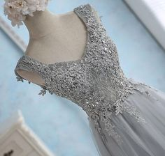 Gray sweetheart lace tulle long prom dress, gray bridesmaid dress, Customized service and Rush order are available