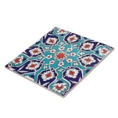 Turquoise Antique Floral Mosaic Tile