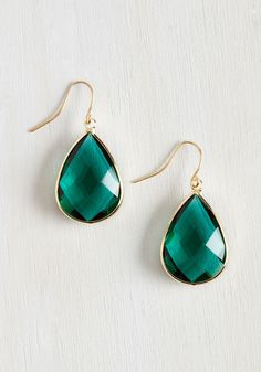 Receiving Drop Honors Earrings in Green. ModCloth, 15. These remind me of the earrings that Angelina Jolie wore to some awards show that I loved!