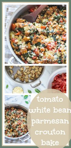 Skillet Tomato Casserole with White Beans and Parmesan Croutons // Well-Plated Yummy Vegetable Recipes, Vegetarian Recipes, Healthy Recipes, Appetizer Recipes, Dinner Recipes, Appetizers, Main Dish Salads, Dinner Is Served, Bean Recipes
