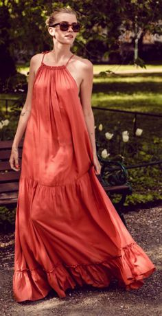 Elsa Ekman + super relaxed + floaty maxi dress + vibrancy + copper colour + perfect + sunny seasonal day. Dress: Brand not specified