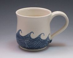 Sewing Gifts For Men Pottery mug / Porcelain coffee cup, hand thrown and hand painted in wave pattern - Pottery Mugs, Ceramic Pottery, Ceramic Art, Ceramic Cups, Ceramic Painting, Handmade Gifts For Boyfriend, Handmade Gifts For Friends, Diy Gifts, Mugs For Men