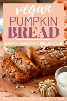 This vegan pumpkin bread is the best cozy fall baking recipe, with moist, soft slices that melt in your mouth and have the perfect amount of cinnamon and sweetness. Dairy free yogurt is the key to keeping this easy, healthy bread recipe moist and delicious, and flax seeds make the recipe egg free as well. Bake up the homemade pumpkin bread for a healthy snack or breakfast that your whole family will love! #ad #almondbreeze #pumpkinbread #veganpumpkinrecipes #fallbreadrecipes #healthypumpkinbread Healthy Pumpkin Bread, Healthy Bread Recipes, Best Vegan Recipes, Easy Delicious Recipes, Vegan Breakfast Recipes, Whole Food Recipes, Fall Recipes, Vegetarian Recipes, Vegan Sweets