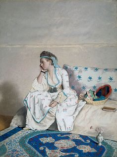 Portrait of the artist's wife, Marie Fargues (1718-1784), in Turkish dress (1756-1758); Jean-Etienne Liotard (1702-1789, Swiss-French)