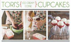 Ice Cream Cone Cupcakes via Tori Spelling - featured in The Party Dress Magazine.