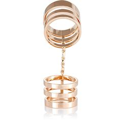 Repossi Berbere Module Seven-Band Cage Ring ($6,305) ❤ liked on Polyvore featuring jewelry, rings, colorless, cage ring, rose gold ring, clear crystal ring, rose gold jewelry and 18 karat gold ring