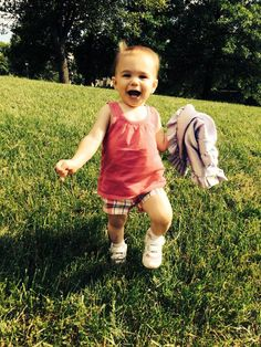 """Our 3rd entry for our Summer Memories Photo Contest comes from Stacey W. who writes, """"Lilah playing outside with her Max Daniel blanket attached to her, like always."""" Adorable! https://www.facebook.com/MaxDanielDesigns"""