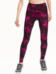 High-Rise Patterned Compression Leggings | Old Navy