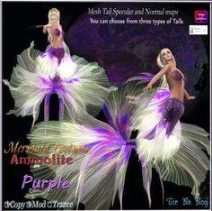 Merchant: **Tir Na Nog** Prize Name: Mermaid Costume =Ammolite Purple= Prize Type: Women's Apparel Mermaid, Japan, Costumes, Type, Clothes For Women, Purple, Movies, Movie Posters, Art
