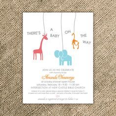 Animal Baby Shower Invitation - Jungle Baby Shower Invitation on Etsy, $27.00- this one is pretty cute though too!