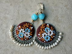 Beautiful Floral Clay Applique Earrings in Gold by charancreations, $39.00