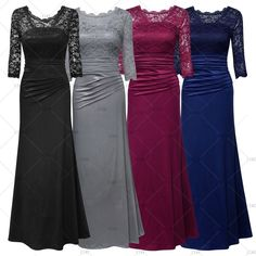 "This is a beautiful formal pleated lace trim gown.  The dress is made from polyester and spandex and is full length. It works great for an evening gown, a  bridesmaid's dress, or any event where you need to feel your formal best!    Available in four color choices: Black, Red Wine, Gray & Royal Blue.    Available in US Size 4 - 14 only at this time.    **Please check your measurements prior to ordering**    Measurements are as follows:  Small = US Size 4-6  Bust Range 32.3"" - 34.2 ""  Waist…"