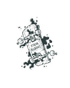 Steve Albini drawing skateboard