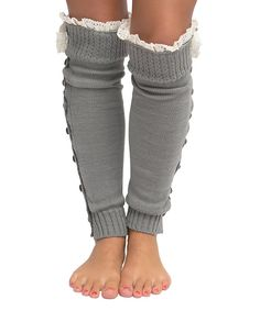 CoziBear Boutique Gray Button-Up Leg Warmers 4c156280c3