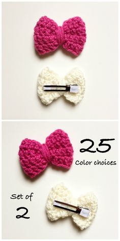 Does your baby girl refuse to wear a headband? Try this! Crochet Hair Bows for Girls are crocheted by hand and made with a fabric wrapped double prong alligator clip. | Hair bows for girls, hair clips for girls, bow barrettes, baby girl hair accessories