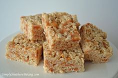 Butter Pecan Caramel Rice Krispies Treats--Made this recipe using 3/4 cup of peanut butter cookie mix instead of cake mix.  Made into square pops dipped in white chocolate then sprinkles !!