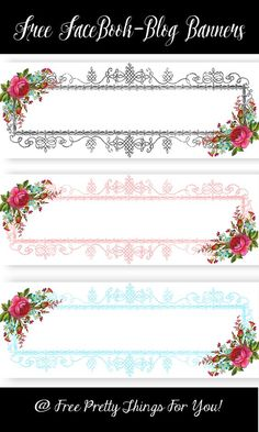 Banners: Free Floral Facebook/Blog Headers - Free Pretty Things For You Vintage Diy, Vintage Labels, Vintage Paper, Printable Labels, Printable Planner, Planner Stickers, Blog Headers, Art N Craft, Stationery Paper