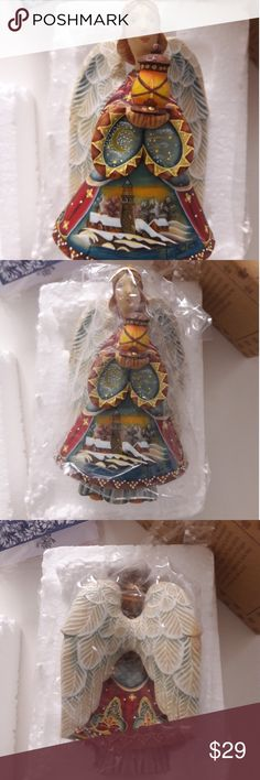 Christmas Angel Russian Ornament Derevo Debrecht In great preowned condition...genuine hand carved guardian Angel....box included...shipped from our warehouse so please allow 5 days for delivery...order NOW and get some FREE Christmas ribbon... Accessories