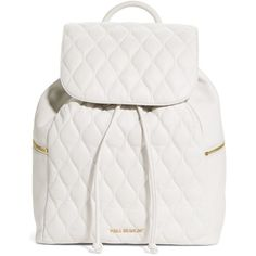 Vera Bradley Quilted Amy Backpack in White (1.720 DKK) ❤ liked on Polyvore featuring bags, backpacks, white, genuine leather backpack, leather rucksack, quilted leather bag, pocket backpack and quilted backpack