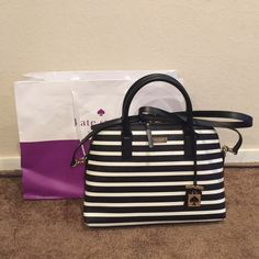 Sale New Kate Spade Striped Satchel New with tags 100% authentic Kate spade striped satchel. Comes with crossbody strap and shipping bag! kate spade Bags